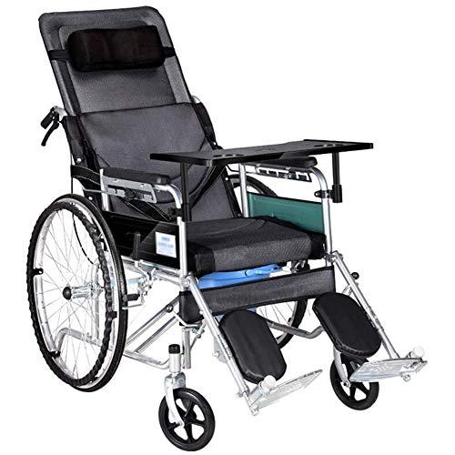 Mdhk Rollstuhl Mit Kopfstütze, Faltbar Und Leicht Elektrisch Betriebenen, Antimicrobial Schutz, Folding Transport Stuhl Ist Tragbar, 46Cm Breite Sitz