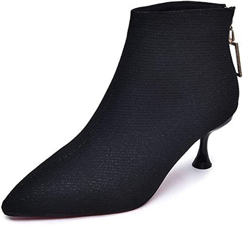 Bottines Talons Aiguilles pour Femmes Bottes Martin Tube Kitten-Heels Chaussures Glitter Paillettes High Heels Courtes bottes