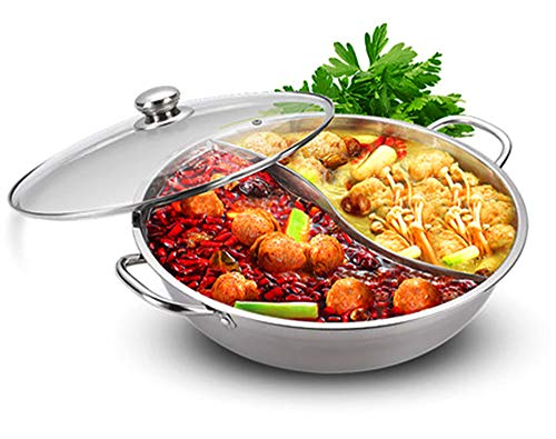 "Shabu Shabu Hot Pot Glass Lid, Hot Plate Cookware Set, Hot Pot Soup Base Stainless Steel Pot Set, 12""(30cm) Hot Pot with Divider"