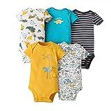 Baby Jungen Kurzarm-Body im 5er Pack Baumwolle Spieler Strampler Schlafanzug Sommer Babybody Spielanzug 18-24 Monate