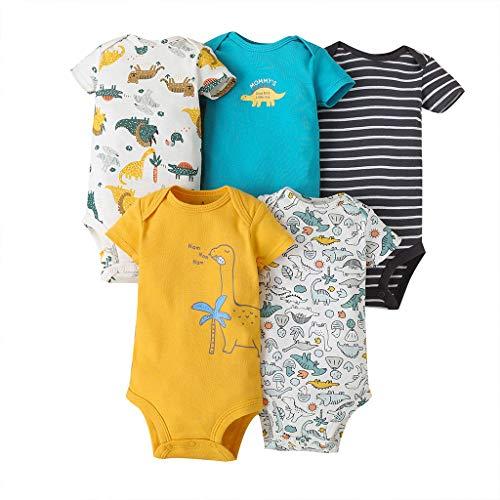 Body Bebé-Niños Pack de 5 - Mono Mameluco Manga Corta para Trajes Baño Ropa de Verano Algodón Pelele 12-18 Meses
