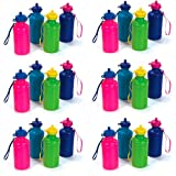 24 Pack Neon Water Bottles for Kids | Bulk Pack, 7.5 inches, Wrist Strap | Summer Reusable Bike Bottles - Beach...