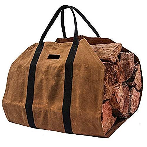 NewSoul 薪トートバッグ ログキャリー 帆布 薪ケース 薪ログキャリア Fire 暖炉ストーブアクセサリー まき 持ち運び用 bag ブラック ハンドル付き (ブラウン)