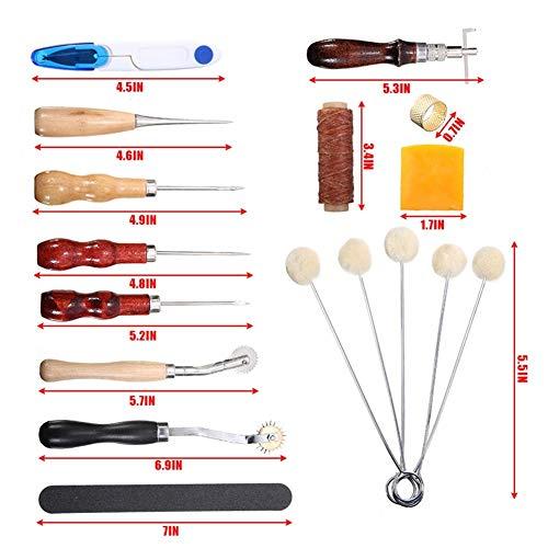 Apropiado Cuero herramientas de trabajo del kit 22pcs fuentes herramienta herramienta de los accesorios de costura de costura Leathercraft Groover punzón ponche de costura del arte DIY Durable