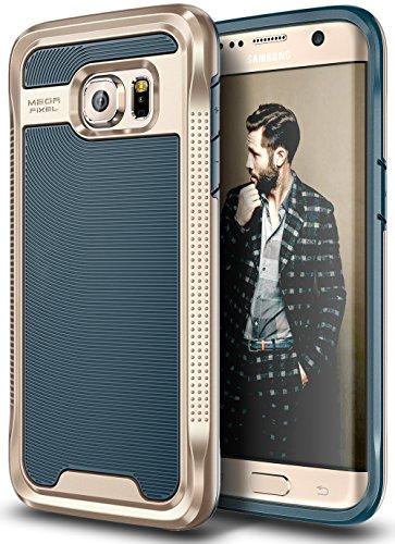 E LV Galaxy S7 Edge Case - Armor Defender Slim Shock Absorption Bumper Case for Samsung Galaxy S7 Edge - (Dark Blue/Gold)
