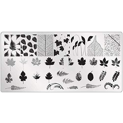 Blätter Stempel Schablone Herbst - für doppel Stamping und Fullcover - NailArt Platte Muster