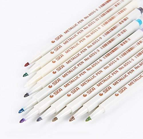 Metallic Stifte Set Rundspitze Fineliner, 10 Metallische Farben Color Metallic Marker Pens DIY Fotoalbum Gästebuch Hochzeit Steine Glas Schwarze Seiten Keramik Holz Leinwand Acrylfarben Handlettering
