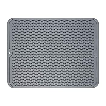 ZLR Dish Drying Mat Multiple Usage Silicone Dish Drying Mat Easy to Clean Drying Mat for Kitchen Counter Grey 12 inches x 15.8 inches Large