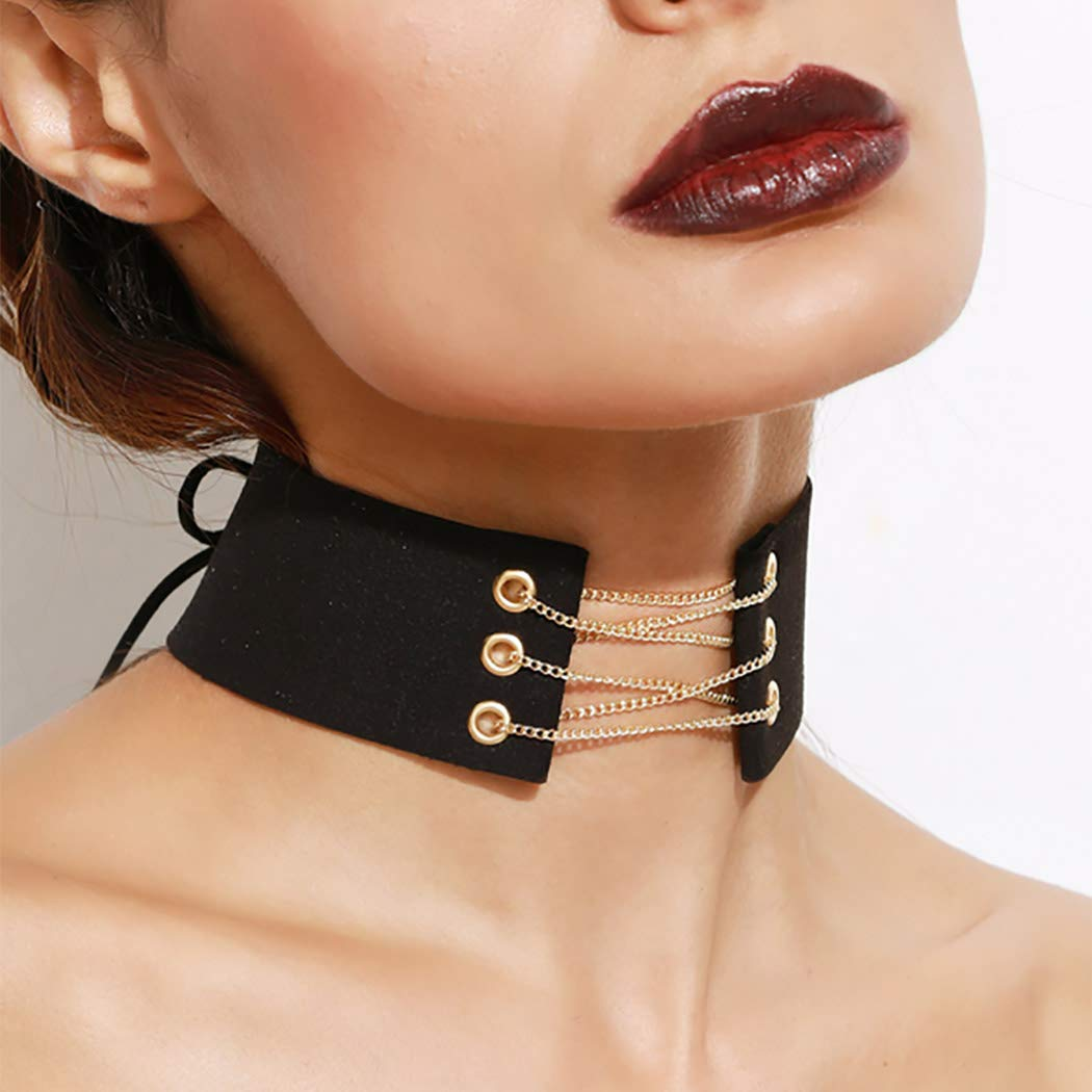 Easedaily Punk Necklaces Black Leather Choker Wide Collar Short Necklace Chain for Women and Girls