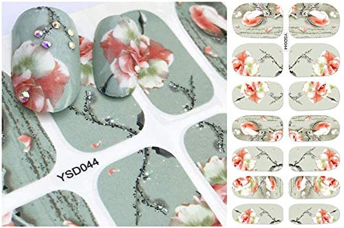 SRTYH Autocollant d'ongle Nail Sticker Letter Flower Designs Water Transfer Decals Sets Nail Art Decor Beauty Tips Make your nails beautiful-B