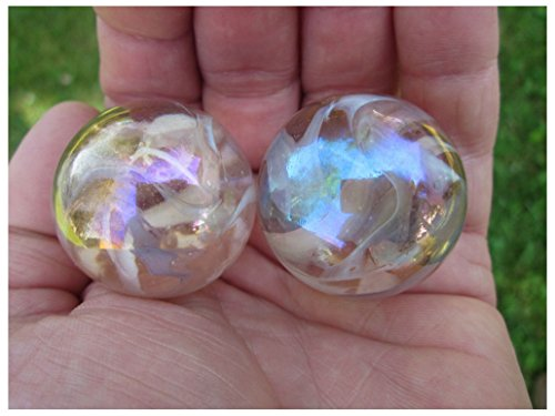 Unbranded 2 BOULDERS 35mm Pink Fairy Marbles Glass Ball Jellyfish Iridescent Giant Large