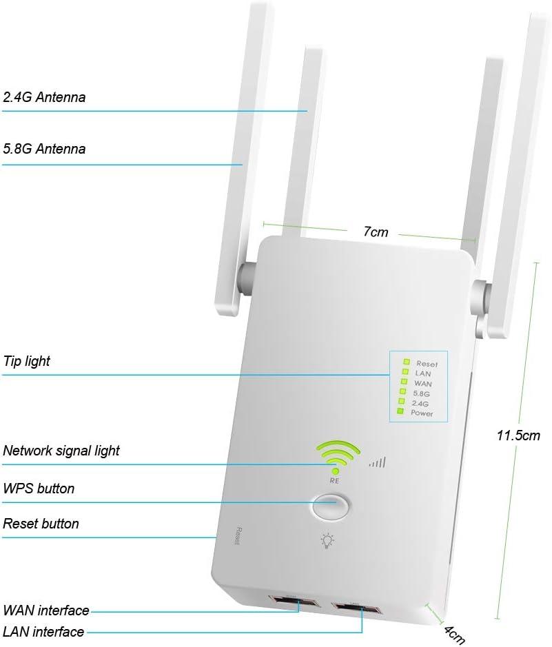 Amplificador Se/ñal WiFi 300Mbps//2.4 GHz Repetidores WiFi Amplificador Extensor de WiFi con Largo Alcance Modo Punto de Acceso//Repeater//Router//Cliente 2 Puerto LAN // WAN, 4 Antenas Externas, WPS