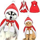 Katze Weihnachten Kostüm, Haustier Katze Weihnachten Santa Claus Mantel Kostüm mit Hut, Katzenkostüm Cape Warme Weihnachtskleidung,Party Holiday Dress Up Pet Bekleidung für Katzen Kleine Hunde (L)
