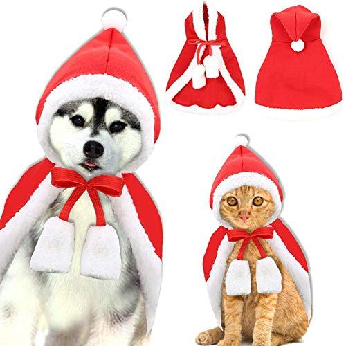 Natale regolabile Cappello da Babbo Natale Mantello Sciarpa e colletto Papillon Forma di mantello di Natale Costume per cucciolo Gattino Piccoli gatti Cani Animali domestici Vestito da festa (L)