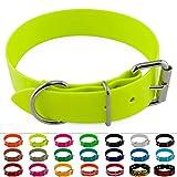 LENNIE BioThane Halsband, Edelstahl-Rollschnalle, 38 mm breit, Größe 38-48 cm, Neon-Gelb, Aufdruck...