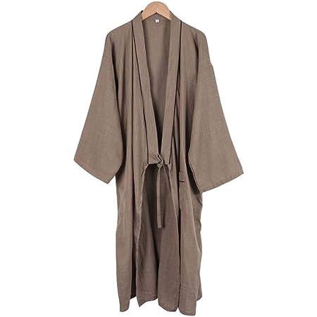 Kimono japonés Hombres Largo Yukata algodón Pijamas Batas ...