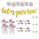 joyMerit Primeros De La Torta Papel Paja Flores Vajilla Set Mantel Decoración De Fiesta Suministro