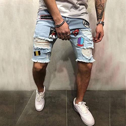 Neue Herren Ripped Distressed Slim Fit Elastic Stretch Patches Männliche Streetwear Hiphop Hole Denim Pants Biker Jeanshose M 2003