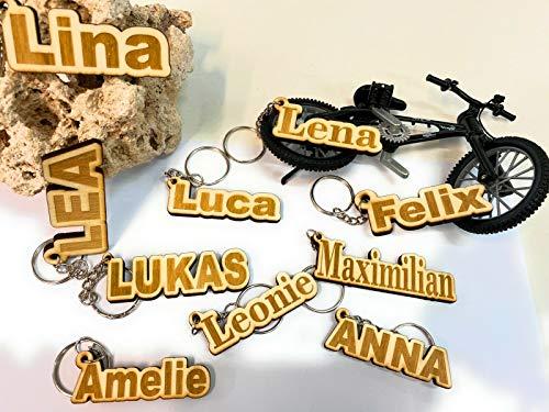 LEON-FOLIEN Schlüsselanhänger Name mit Wunschgravur aus Holz - Graviert - Gravur - Geschenk