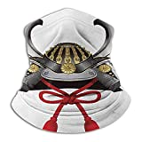 Bandanas For Men Japanese Winter Neck Gaiter Classic Japanese Kabuto Mask Silver Custom Medieval Period Icon Print Grey Vermilion Yellow
