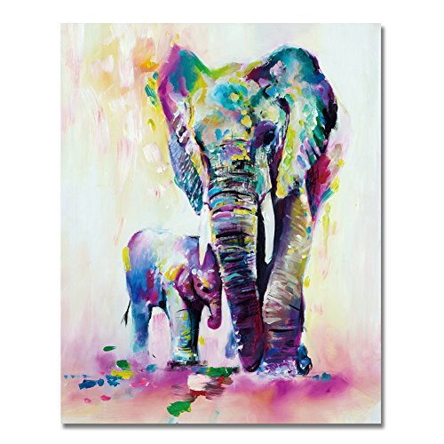LIUDAO Paint by Number Kits Paintworks DIY Oil Painting for Kids and Adults Beginner Animals Painting (16x20inch,Colored Elephants,frameles)