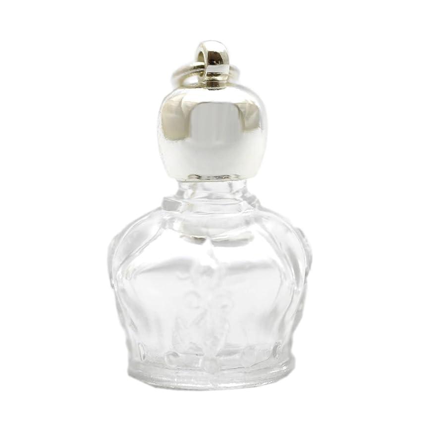 検索エンジンマーケティング息子補償ミニ香水瓶 アロマペンダントトップ 王冠型(透明)1ml?シルバー?穴あきキャップ、パッキン付属