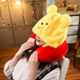 ZSJZSJ U Shaped Neck Pillow with Cute Cartoon Animal 2 in 1 Cap Cozy Travel Cushion Head Stress Relief Airplane Home Car Seat Office Gifts,Winnie-the-Pooh