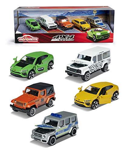 Majorette SUV 5er-Geschenkset, Spielzeugautos mit Freilauf aus Metall, Mercedes-AMG G 63 Police, Jeep Wrangler Safari, Lamborghini Urus & exklusiv Lamborghini grün und Land Rover Defender 110 Zebra