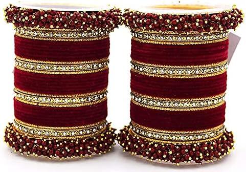 Maroon Silk Thread Plain Bangles Set for Women/Girls (Size:-2.2)