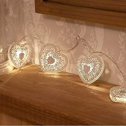 Qhome 10 LED Love Heart String Lights with Battery Operated, Romantic Warm White Wooden Heart Fairy Light Hanging Decoration for Valentines Day/Garden Patio/Wedding/Party, 1.2M