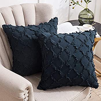 Longhui bedding Navy Throw Pillow Covers for Sofa Couch Bedroom Family Room – Set of 2 Decorative Pillows 18 x 18 Inches Cotton Linen Cushion Covers No Inserts