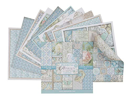"Stamperia Bloc de Scrapbooking 10 hojas 30.5x30.5 (12""x12"") 2 caras - Azulejos (SBBL55)"