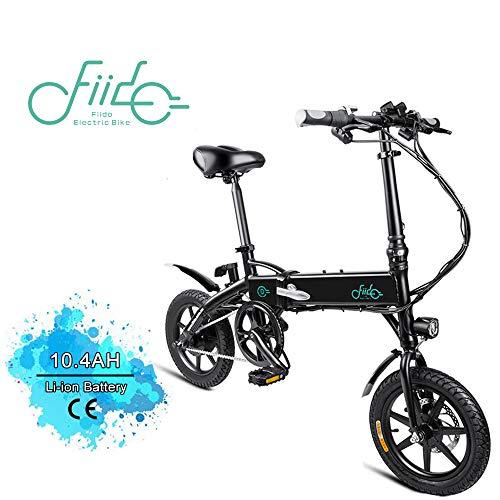 FIIDO D1 14 Pulgadas Bicicleta eléctrica Plegable, Bicicleta eléctrica de batería de Litio de 250W 7.8/10.4Ah con luz LED Frontal para Negro Adulto (Blanco-10.4Ah)