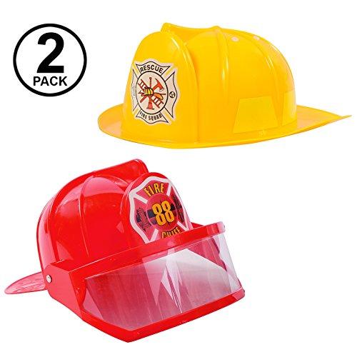 Tigerdoe Fireman Hat - Firefighter Hat & Fire Chief Hat - Fireman Costume Accessories - 2 Pack Fireman Helmet (Red and Yellow)
