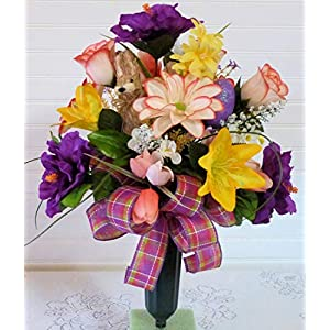 Easter Cemetery Vase, Cemetery Flowers with Bunny, Easter Grave Flowers with Lilies