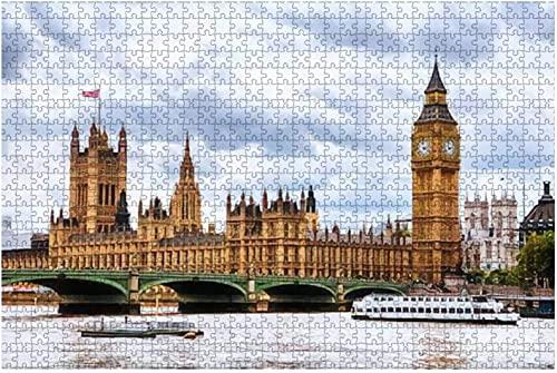1000 piezas-Londres Reino Unido Cielo nublado sobre la ciudad de Londres Reino Unido Westminster y gran rompecabezas de madera DIY Niños Rompecabezas educativos Regalo de descompresión para adultos J
