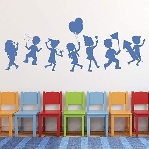 WERWN Fiesta Infantil Pegatinas de Pared Escuela jardín de Infantes Aula área de Juego decoración de Interiores Puertas Ventanas Vinilo Pegatinas niños Dormitorio murales