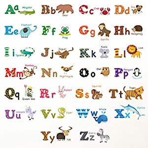 DECOWALL DW-1308 Alphabet ABC and Animals Kids Wall Stickers Wall Decals Peel and Stick Removable Wall Stickers for Kids Nursery Bedroom Living Room (Medium) décor