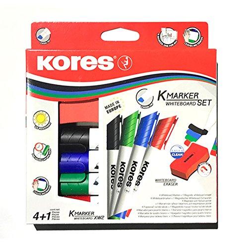 Kores whiteboard set, 4 markers met wigvormige punt, 1 mm, zwart/blauw/rood/groen