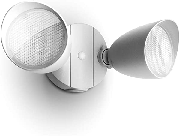 Lutec 6222W 1380 Lumen 23 Watt 26 LED Dual Head Floodlight Outdoor Waterproof Exterior Security Wall Light For Patio Garden Yard White