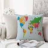 Kissenhülle Super Weich Home Decoration,Karte, klassische bunte Karte der Welt in der politischen...
