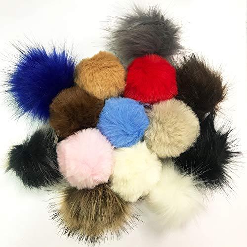 Anyasen Fellbommel Faux 14 Stück Faux Fur Pom Poms Künstlicher Haarball Nachahmung Fuchs Haarkugel Flauschigen Pompom Ball Bommel für Mütze für Hüte Schuhe Schals Schlüsselanhänger Taschenanhänger