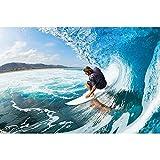 GREAT ART® Mural de pared ? surfero en olas ? Foto tapiz decoración de imagen mural deporte tabla de surf deco playa océano surf mar surf tablista naturaleza (210 x 140 cm