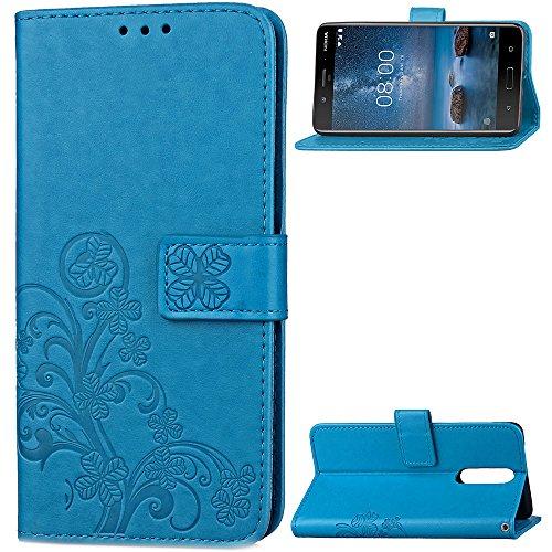 Hülle für Nokia 8 2017 Hülle Handyhülle [Standfunktion] [Kartenfach] Schutzhülle lederhülle klapphülle für Nokia 8 - DESD051507 Blau