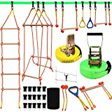 Ninja Warrior Obstacle Course for Kids, Slackline Kit 50' with 8 Accessories - Monkey Bars,...