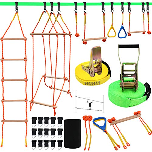 "Ninja Warrior Obstacle Course for Kids, Slackline Kit 50' with 8 Accessories - Monkey Bars, Gymnastics Rings, 68"" Rope Ladder, Bridge Obstacle - Ninja Line Training Equipment for Backyard Outdoor"