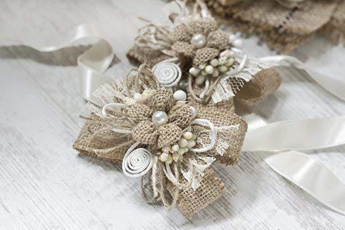 2 Burlap Flower Corsages, Bridesmaids Wrist Corsage Flowers, Burlap and Lace Wedding Bracelets, Mother of Bride Accessories