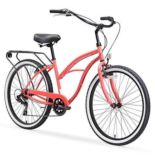 """sixthreezero Around The Block Women's 7-Speed Beach Cruiser Bicycle, 26"""" Wheels, Coral Pink with Black Seat and Grips"""