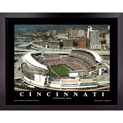 Cincinnati Bengals Football Stadium Poster Wall Art Decor Framed Print | 23 x 29 | NFL Game at Paul Brown Field | Aerial Posters & Pictures | Sports Fan Gifts for Guys & Girls College Bedroom Walls