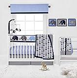Bacati 10 Piece Boys Elephants Nursery-in-A-Bag Boys Nursery Decor Crib Bedding Set with Long Rail Guard, Blue/Grey